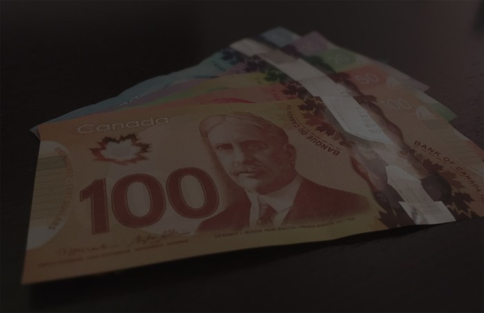 Assorted bills of Canadian money.