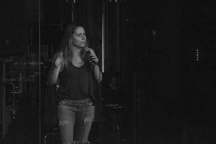 Katie-Ellen Humphries on stage at Full Pint Comedy
