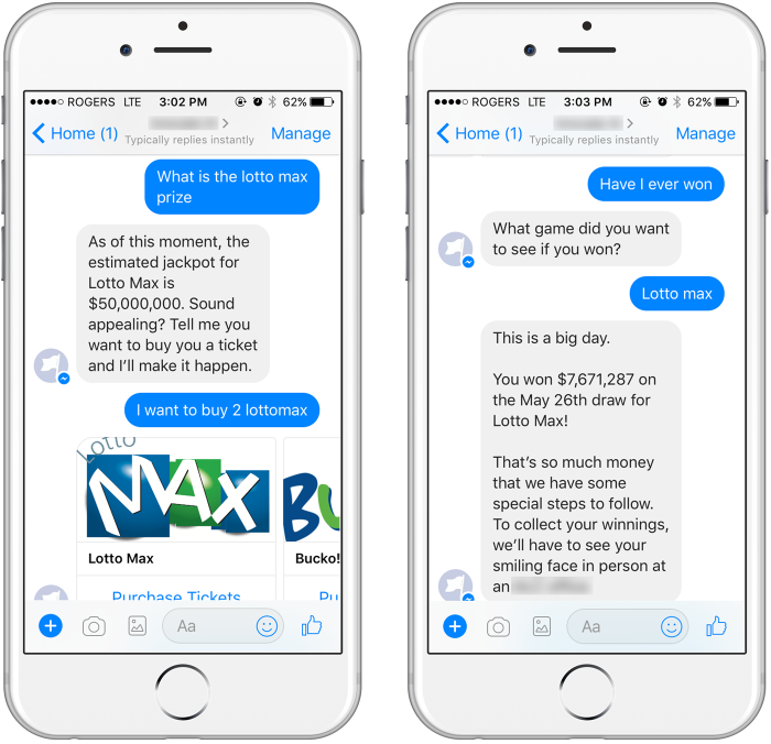 Screenshots from the Lottobot prototype in Facebook Messenger.